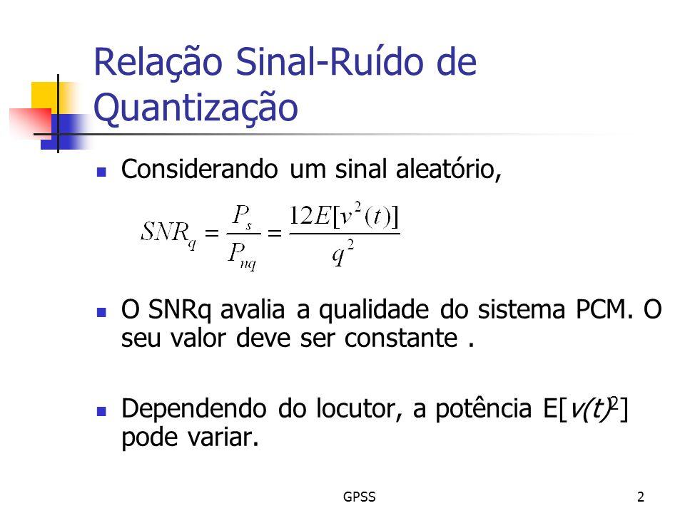 GPSS2 Relação Sinal-Ruído de Quantização Considerando um sinal aleatório, O SNRq avalia a qualidade do sistema PCM. O seu valor deve ser constante. De
