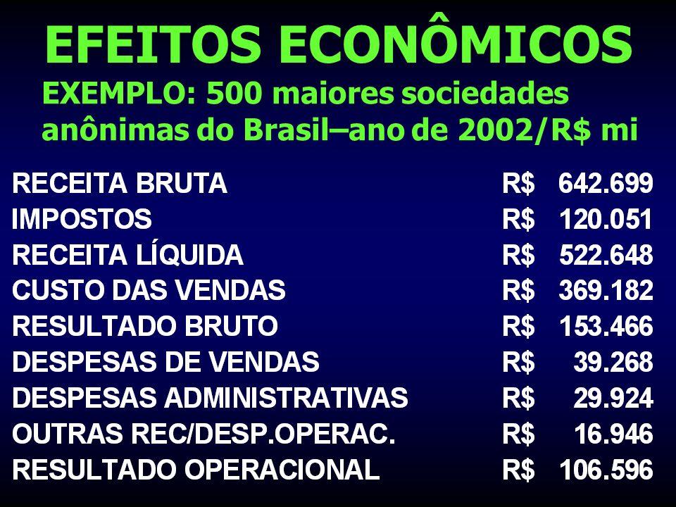 EFEITOS ECONÔMICOS EXEMPLO: 500 maiores sociedades anônimas do Brasil–ano de 2002/R$ mi
