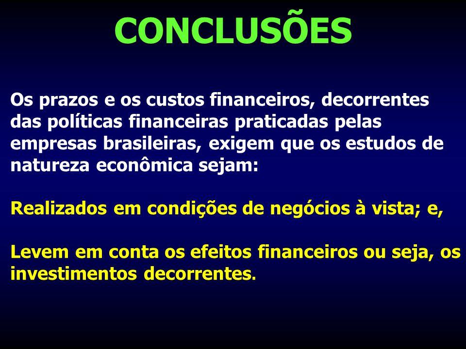 CONCLUSÕES Os prazos e os custos financeiros, decorrentes das políticas financeiras praticadas pelas empresas brasileiras, exigem que os estudos de na