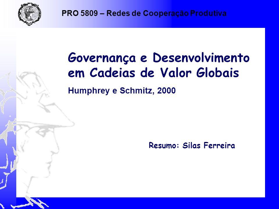 Resumo: Silas Ferreira Governança e Desenvolvimento em Cadeias de Valor Globais Humphrey e Schmitz, 2000 PRO 5809 – Redes de Cooperação Produtiva
