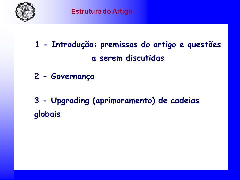 1 - Introdução: premissas do artigo e questões a serem discutidas 2 - Governança 3 - Upgrading (aprimoramento) de cadeias globais Estrutura do Artigo