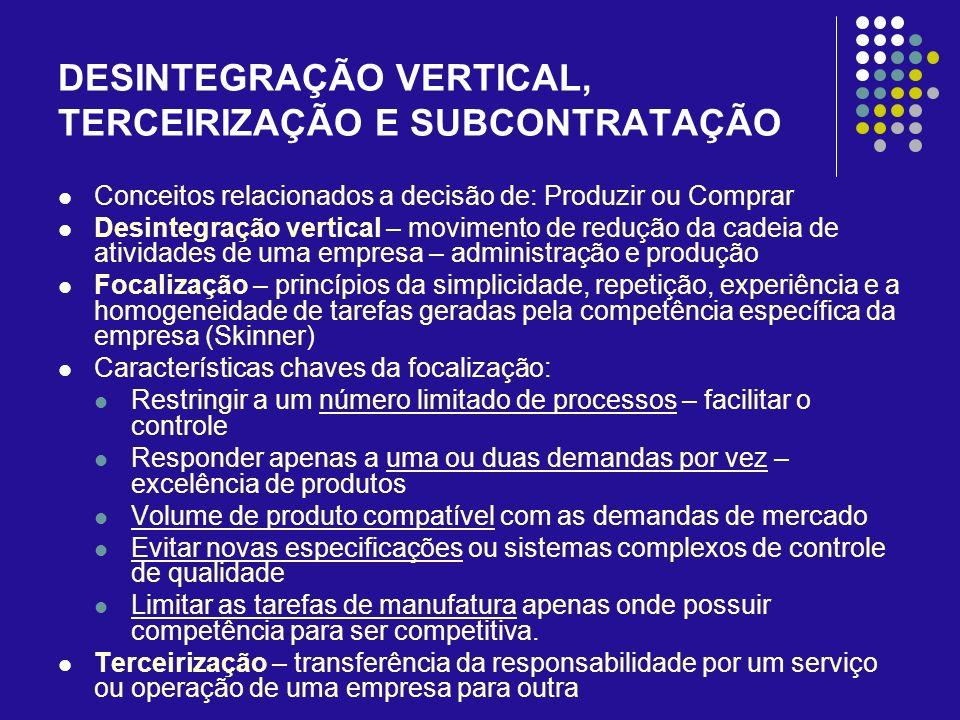 DESINTEGRAÇÃO VERTICAL, TERCEIRIZAÇÃO E SUBCONTRATAÇÃO Conceitos relacionados a decisão de: Produzir ou Comprar Desintegração vertical – movimento de
