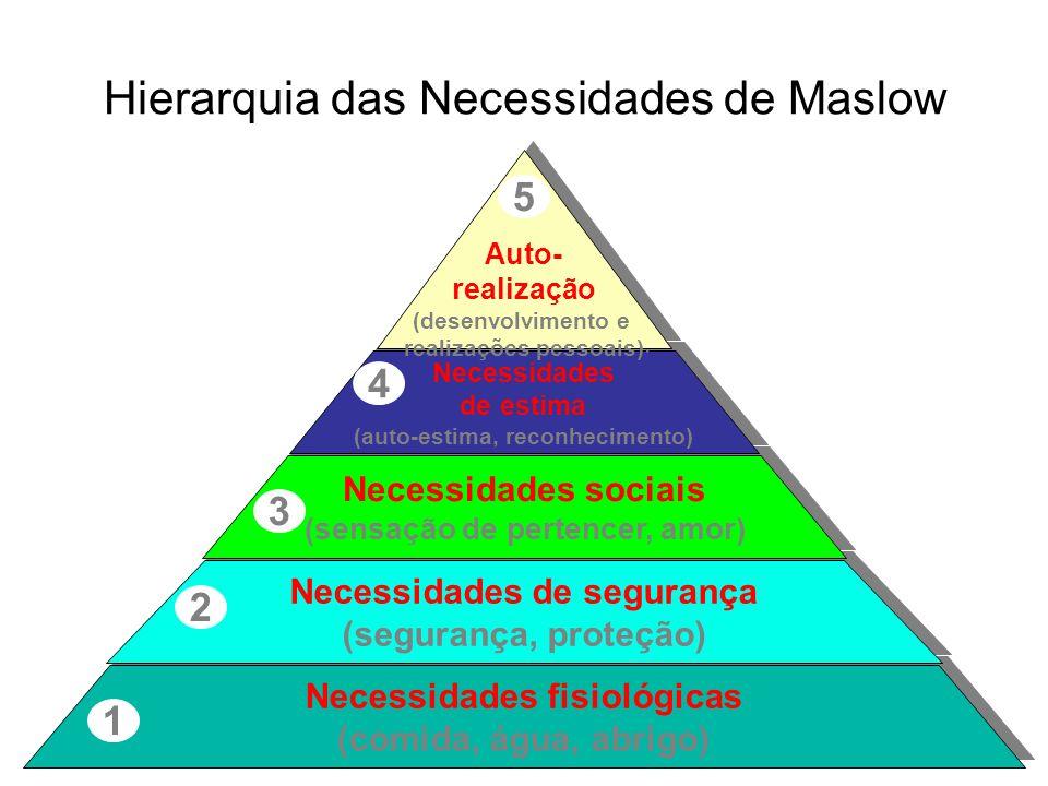Hierarquia das Necessidades de Maslow Necessidades fisiológicas (comida, água, abrigo) Necessidades fisiológicas (comida, água, abrigo) 1 Necessidades de segurança (segurança, proteção) Necessidades de segurança (segurança, proteção) 2 Necessidades sociais (sensação de pertencer, amor) Necessidades sociais (sensação de pertencer, amor) 3 Necessidades de estima (auto-estima, reconhecimento) Necessidades de estima (auto-estima, reconhecimento) 4 Auto- realização (desenvolvimento e realizações pessoais) Auto- realização (desenvolvimento e realizações pessoais) 5