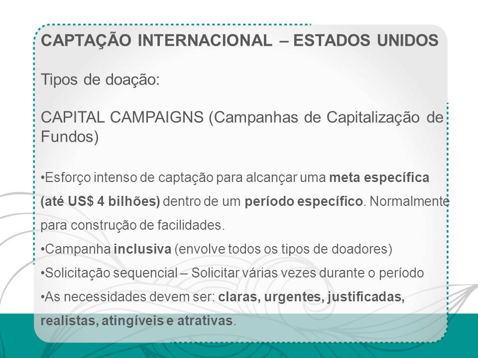 CAPTAÇÃO INTERNACIONAL – ESTADOS UNIDOS Tipos de doação: CAPITAL CAMPAIGNS (Campanhas de Capitalização de Fundos) Esforço intenso de captação para alc