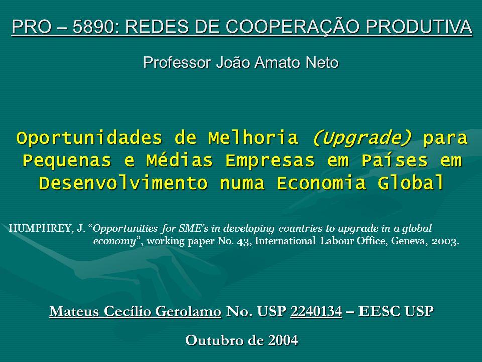 Oportunidades de Melhoria (Upgrade) para Pequenas e Médias Empresas em Países em Desenvolvimento numa Economia Global HUMPHREY, J. Opportunities for S