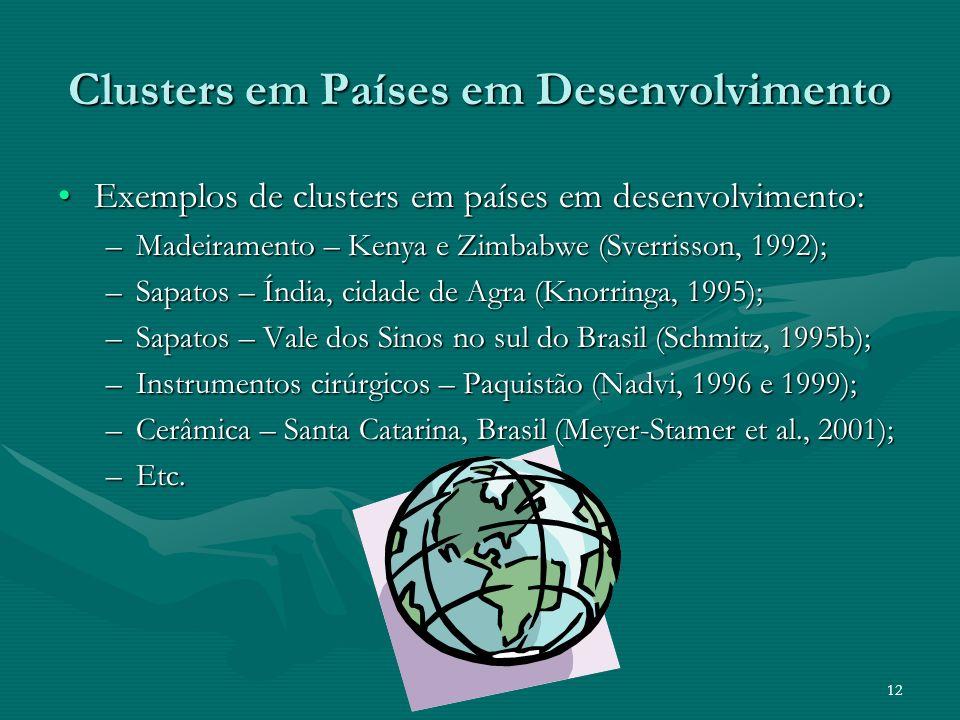 12 Clusters em Países em Desenvolvimento Exemplos de clusters em países em desenvolvimento:Exemplos de clusters em países em desenvolvimento: –Madeira