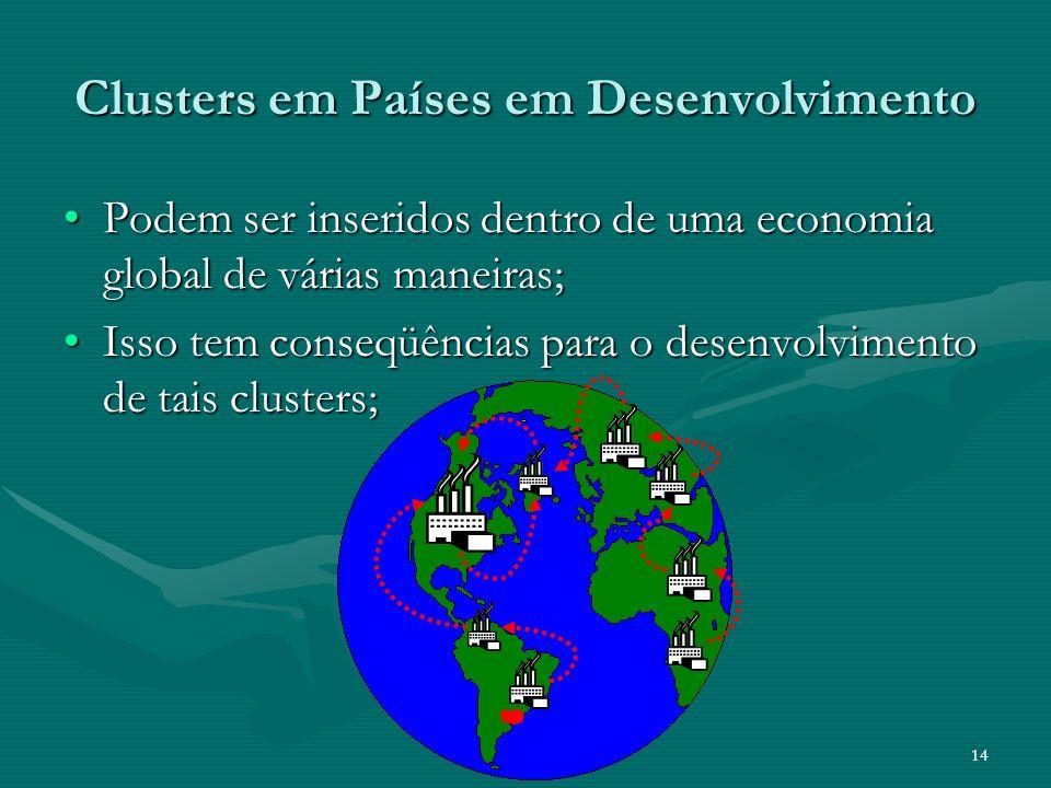 14 Clusters em Países em Desenvolvimento Podem ser inseridos dentro de uma economia global de várias maneiras;Podem ser inseridos dentro de uma econom