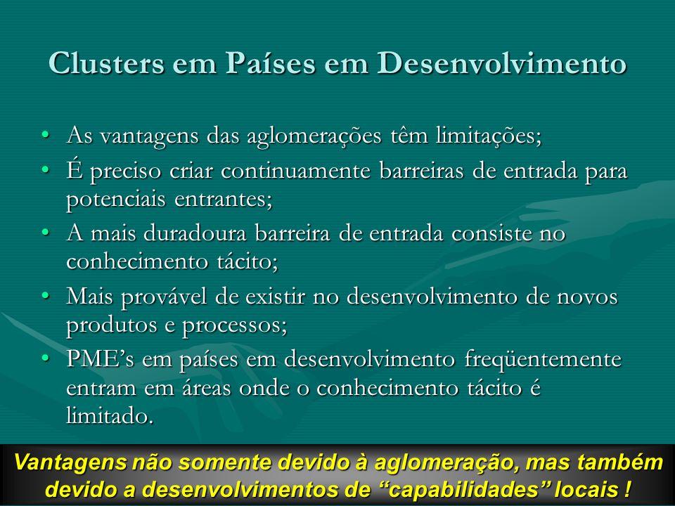 15 Clusters em Países em Desenvolvimento As vantagens das aglomerações têm limitações;As vantagens das aglomerações têm limitações; É preciso criar co