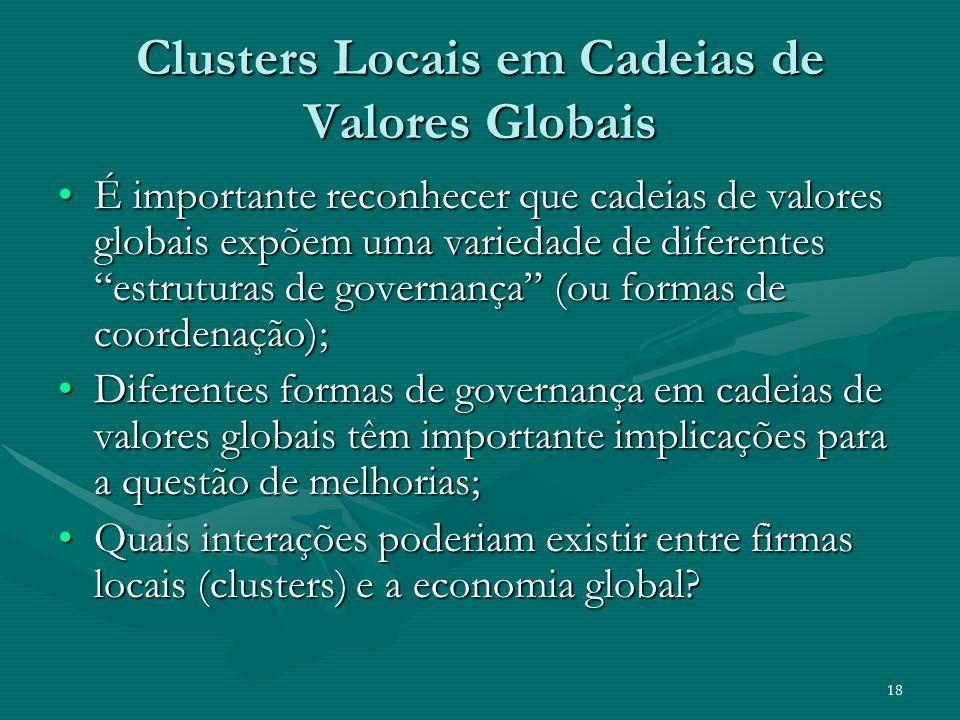 18 Clusters Locais em Cadeias de Valores Globais É importante reconhecer que cadeias de valores globais expõem uma variedade de diferentes estruturas