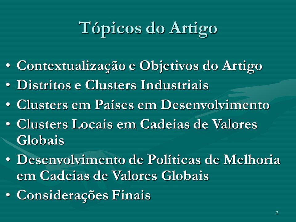 2 Tópicos do Artigo Contextualização e Objetivos do ArtigoContextualização e Objetivos do Artigo Distritos e Clusters IndustriaisDistritos e Clusters