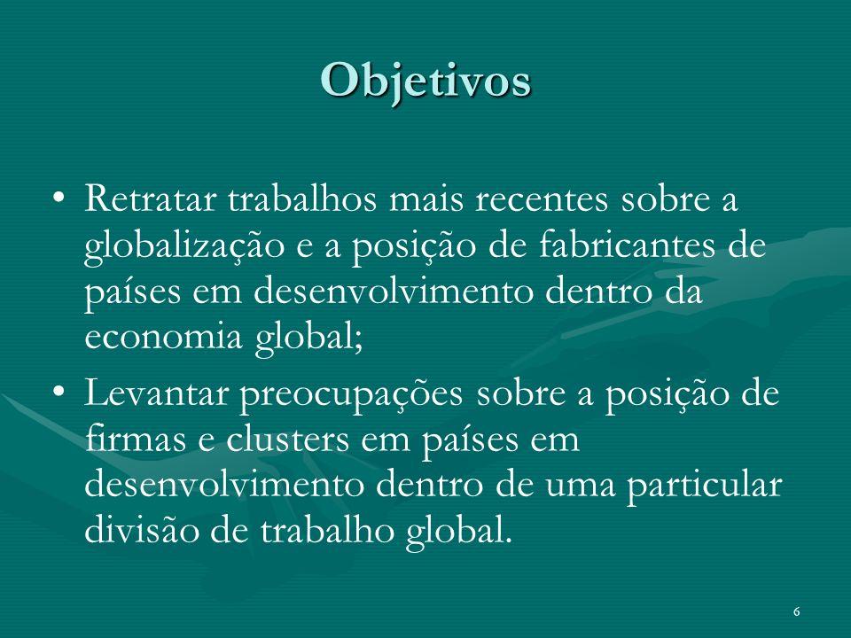 6 Objetivos Retratar trabalhos mais recentes sobre a globalização e a posição de fabricantes de países em desenvolvimento dentro da economia global; L