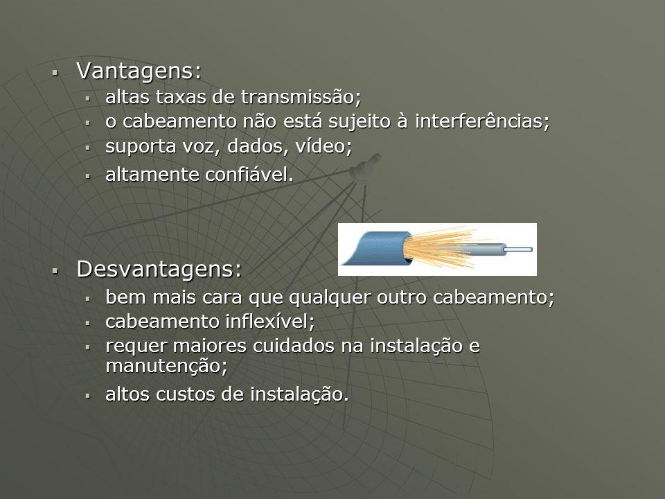 Vantagens: Vantagens: altas taxas de transmissão; altas taxas de transmissão; o cabeamento não está sujeito à interferências; o cabeamento não está su