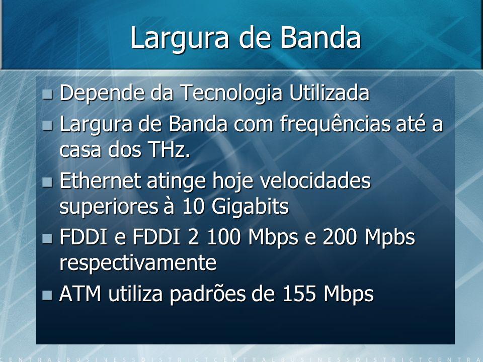 Largura de Banda Depende da Tecnologia Utilizada Depende da Tecnologia Utilizada Largura de Banda com frequências até a casa dos THz. Largura de Banda