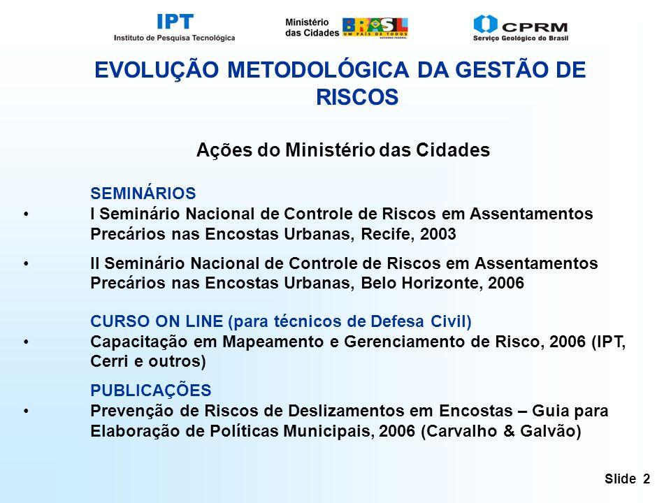 Slide 2 EVOLUÇÃO METODOLÓGICA DA GESTÃO DE RISCOS Ações do Ministério das Cidades SEMINÁRIOS I Seminário Nacional de Controle de Riscos em Assentamentos Precários nas Encostas Urbanas, Recife, 2003 II Seminário Nacional de Controle de Riscos em Assentamentos Precários nas Encostas Urbanas, Belo Horizonte, 2006 CURSO ON LINE (para técnicos de Defesa Civil) Capacitação em Mapeamento e Gerenciamento de Risco, 2006 (IPT, Cerri e outros) PUBLICAÇÕES Prevenção de Riscos de Deslizamentos em Encostas – Guia para Elaboração de Políticas Municipais, 2006 (Carvalho & Galvão)