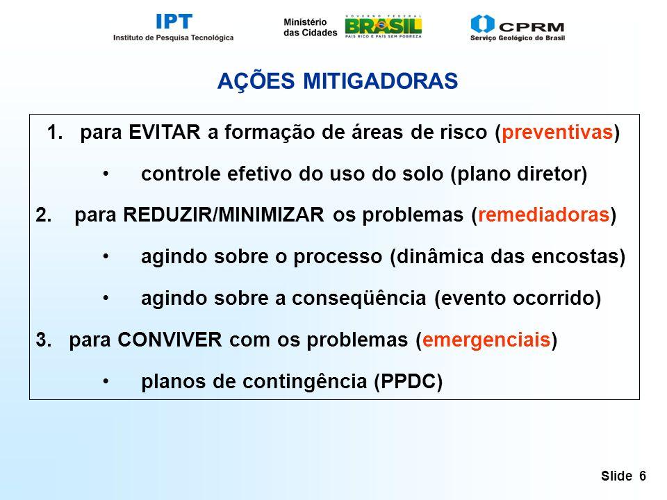 Slide 6 AÇÕES MITIGADORAS 1.para EVITAR a formação de áreas de risco (preventivas) controle efetivo do uso do solo (plano diretor) 2.