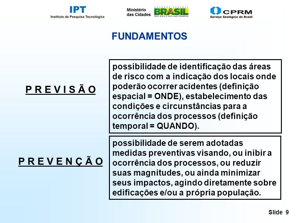 Slide 9 FUNDAMENTOS ONDE QUANDO possibilidade de identificação das áreas de risco com a indicação dos locais onde poderão ocorrer acidentes (definição espacial = ONDE), estabelecimento das condições e circunstâncias para a ocorrência dos processos (definição temporal = QUANDO).