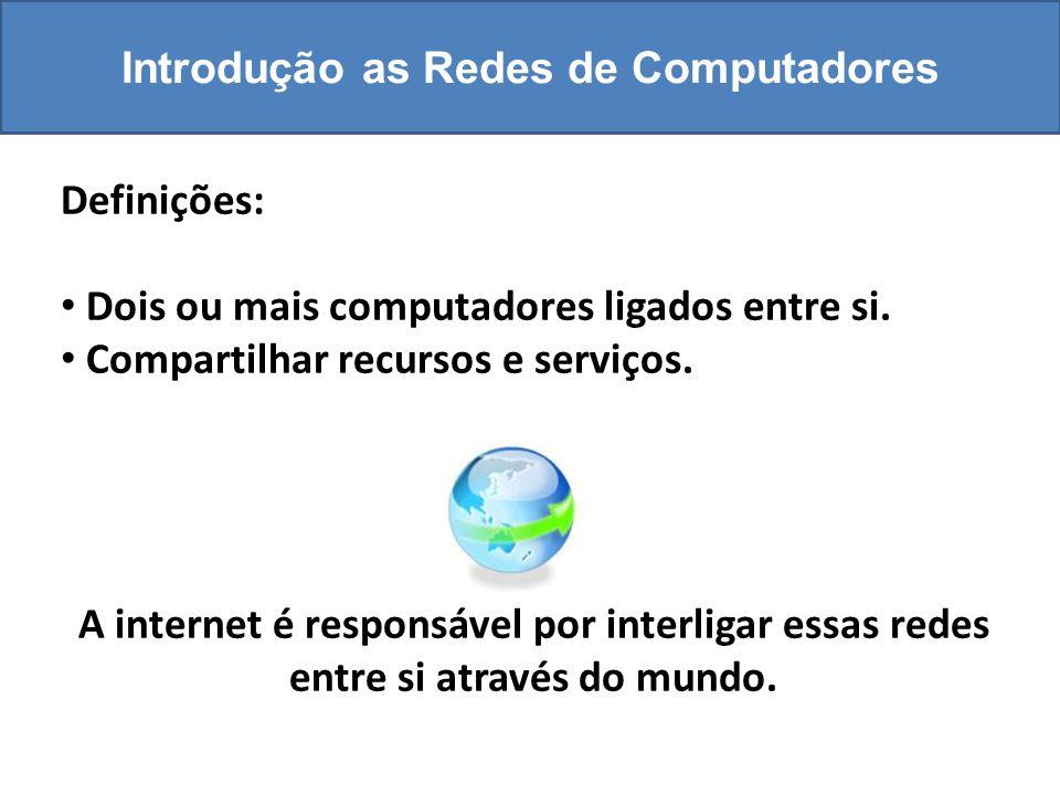 Introdução as Redes de Computadores Definições: Dois ou mais computadores ligados entre si.