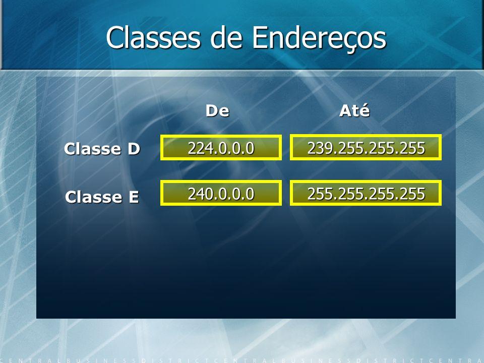 Classes de Endereços Classe D Classe E 224.0.0.0 239.255.255.255 DeAté 240.0.0.0 255.255.255.255