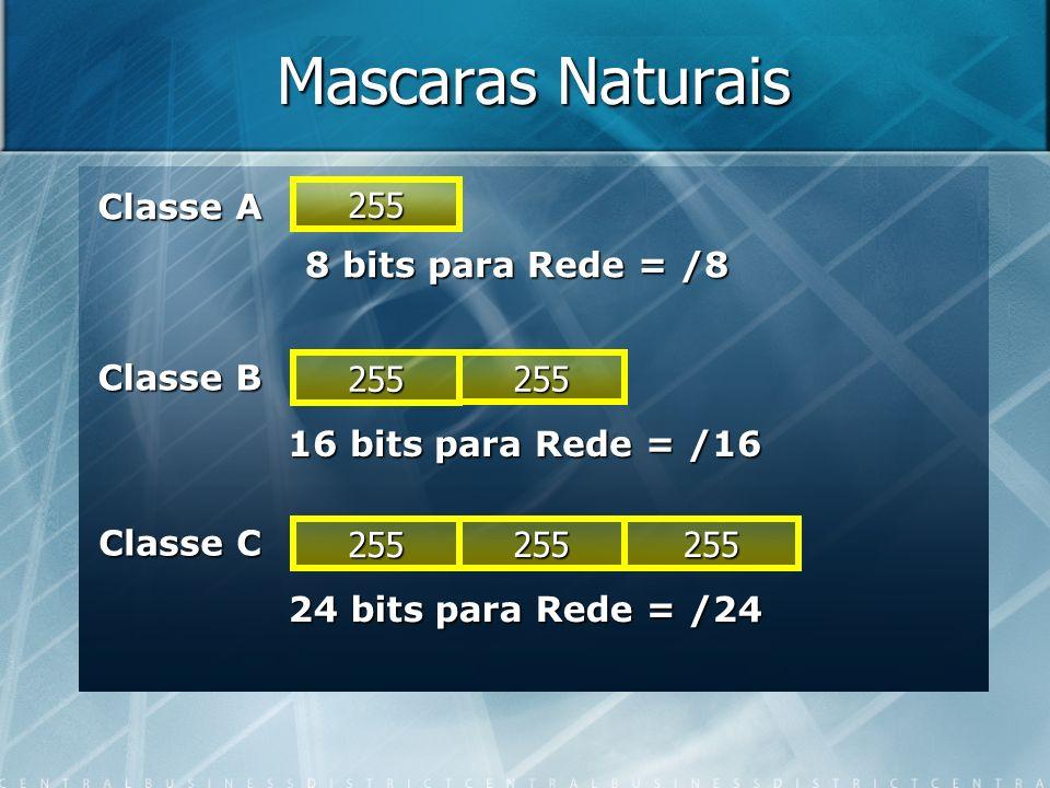 Mascaras Naturais 255 255 255 255 255255 Classe A Classe B Classe C 8 bits para Rede = /8 16 bits para Rede = /16 24 bits para Rede = /24