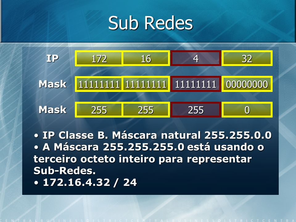 Sub Redes IP 11111111 Mask 111111111111111100000000 Mask 172 16432 255 2552550 IP Classe B. Máscara natural 255.255.0.0 IP Classe B. Máscara natural 2