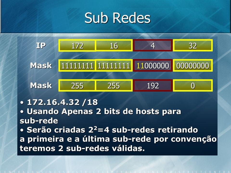 Sub Redes IP 11111111 Mask 11111111 11000000 00000000 Mask 172 16432 255 2551920 172.16.4.32 /18 172.16.4.32 /18 Usando Apenas 2 bits de hosts para Us
