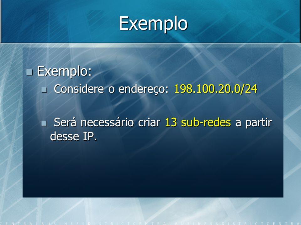 Exemplo Exemplo: Exemplo: Considere o endereço: 198.100.20.0/24 Considere o endereço: 198.100.20.0/24 Será necessário criar 13 sub-redes a partir dess