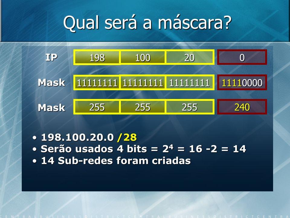 Qual será a máscara? IP 11111111 Mask 1111111111111111 11110000 Mask 198 100200 255255255240 198.100.20.0 /28 198.100.20.0 /28 Serão usados 4 bits = 2