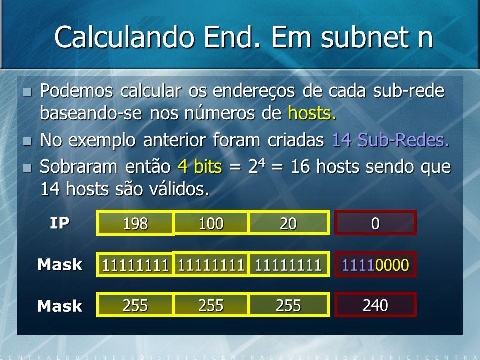 Calculando End. Em subnet n Podemos calcular os endereços de cada sub-rede baseando-se nos números de hosts. Podemos calcular os endereços de cada sub