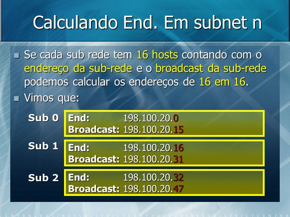 Calculando End. Em subnet n Se cada sub rede tem 16 hosts contando com o endereço da sub-rede e o broadcast da sub-rede podemos calcular os endereços