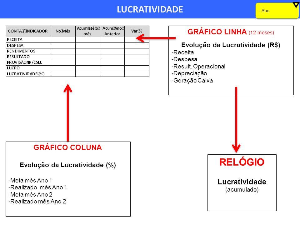 LUCRATIVIDADE GRÁFICO LINHA (12 meses) Evolução da Lucratividade (R$) -Receita -Despesa -Result. Operacional -Depreciação -Geração Caixa - Ano GRÁFICO