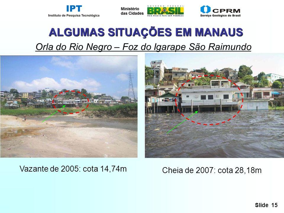 Slide 15 ALGUMAS SITUAÇÕES EM MANAUS Orla do Rio Negro – Foz do Igarape São Raimundo Vazante de 2005: cota 14,74m Cheia de 2007: cota 28,18m