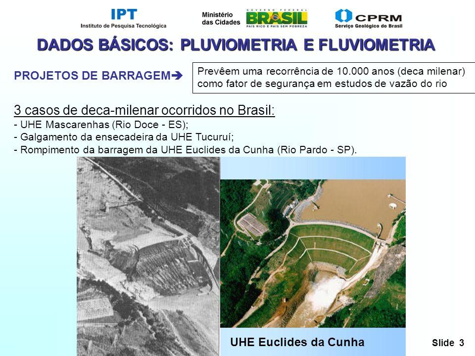 Slide 3 PROJETOS DE BARRAGEM Prevêem uma recorrência de 10.000 anos (deca milenar) como fator de segurança em estudos de vazão do rio DADOS BÁSICOS: P