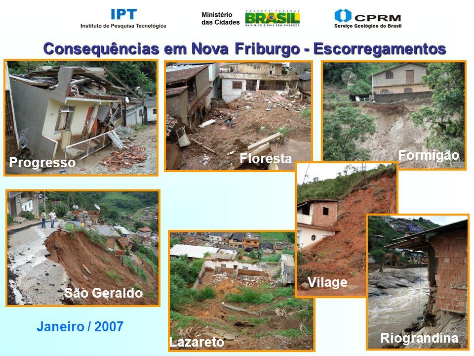 Slide 30 Floresta Formigão Vilage Progresso Lazareto Riograndina São Geraldo Janeiro / 2007 Consequências em Nova Friburgo - Escorregamentos