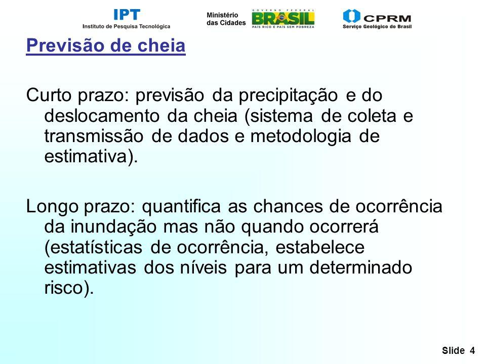 Slide 4 Previsão de cheia Curto prazo: previsão da precipitação e do deslocamento da cheia (sistema de coleta e transmissão de dados e metodologia de