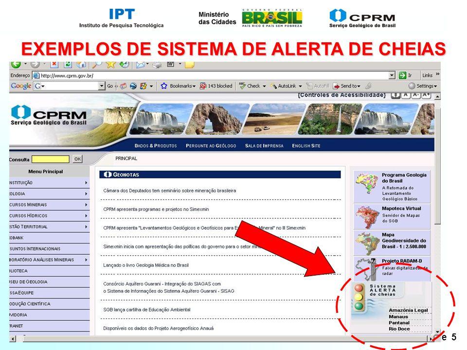 Slide 5 EXEMPLOS DE SISTEMA DE ALERTA DE CHEIAS