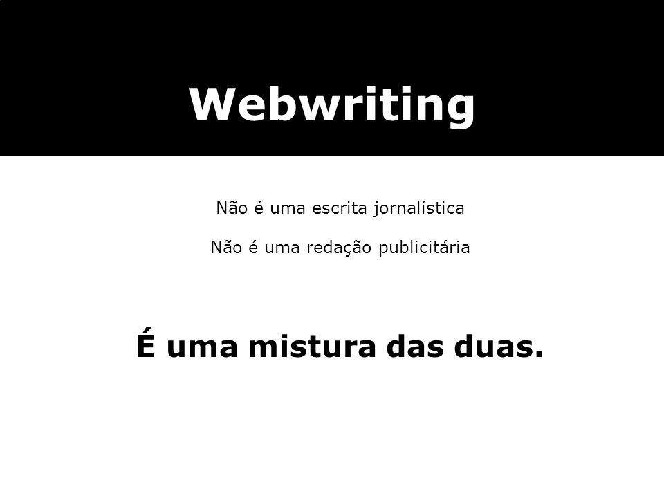 Webwriting Não é uma escrita jornalística Não é uma redação publicitária É uma mistura das duas.