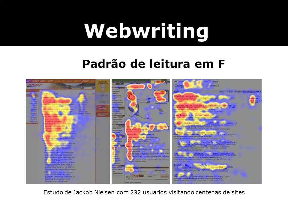 Webwriting Padrão de leitura em F Estudo de Jackob Nielsen com 232 usuários visitando centenas de sites