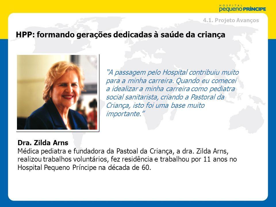 HPP: formando gerações dedicadas à saúde da criança Dra. Zilda Arns Médica pediatra e fundadora da Pastoal da Criança, a dra. Zilda Arns, realizou tra