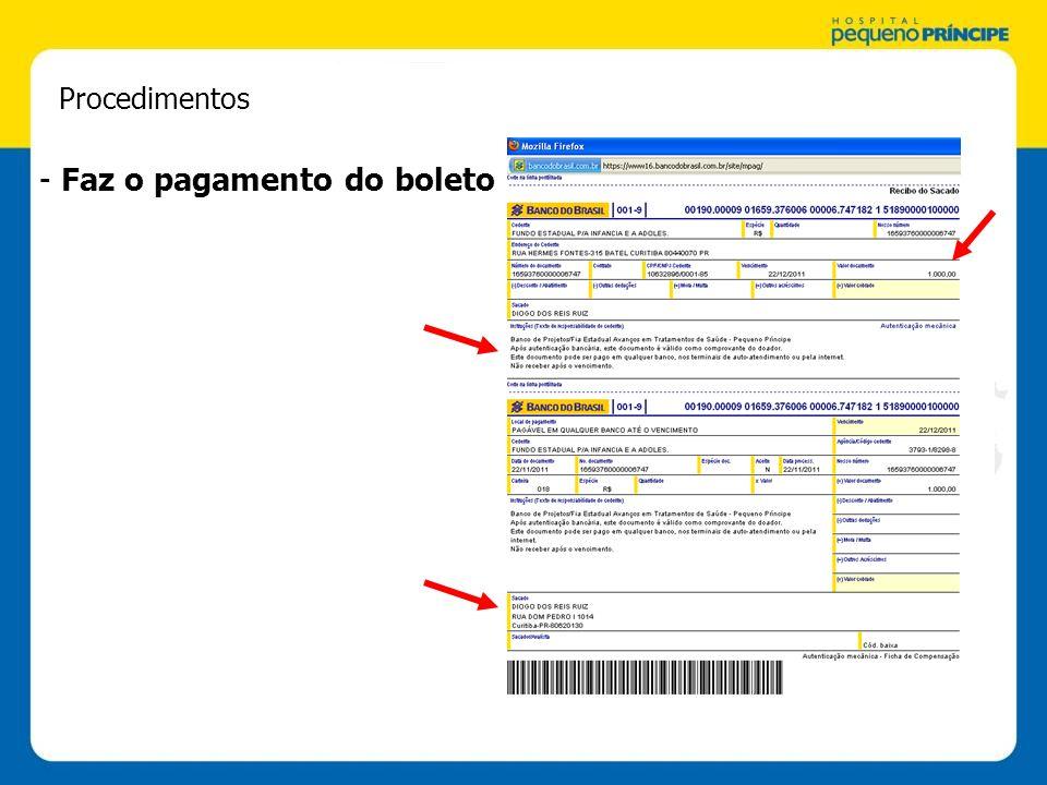 Procedimentos - Faz o pagamento do boleto