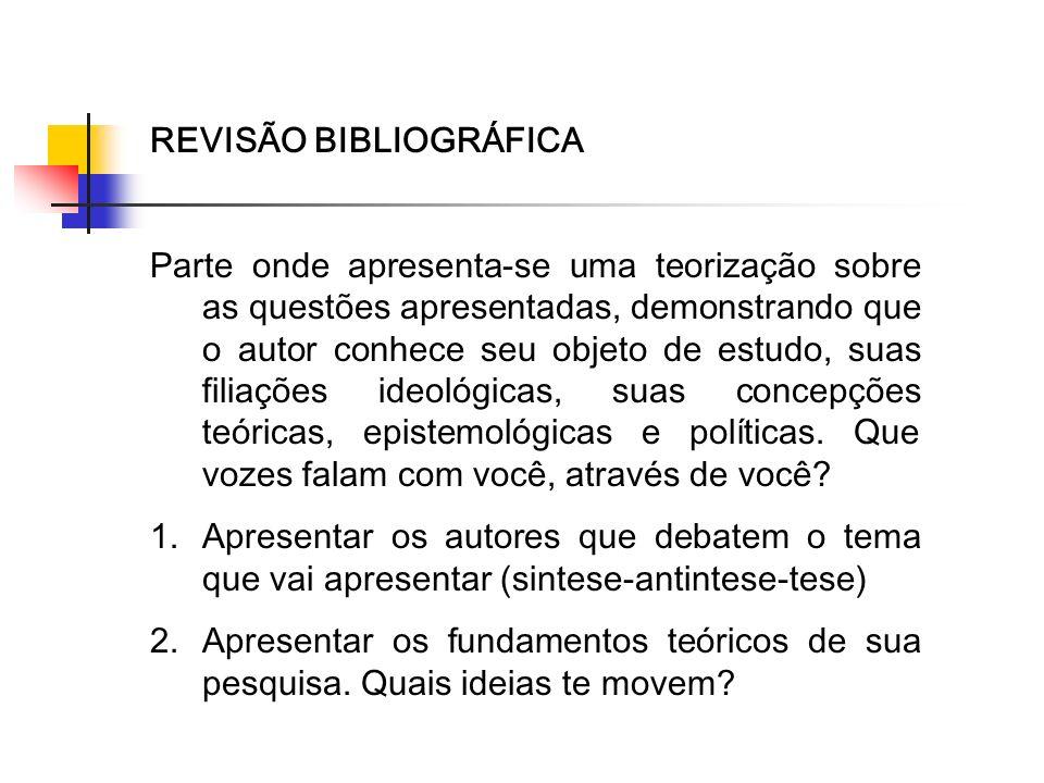REVISÃO BIBLIOGRÁFICA Parte onde apresenta-se uma teorização sobre as questões apresentadas, demonstrando que o autor conhece seu objeto de estudo, su