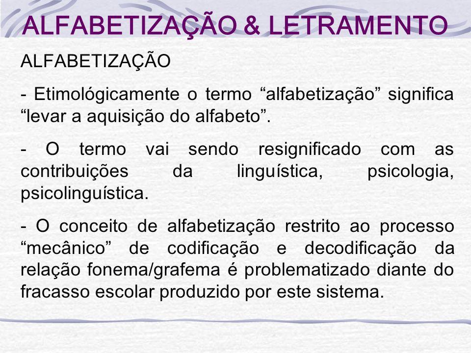 ALFABETIZAÇÃO & LETRAMENTO ALFABETIZAÇÃO - Etimológicamente o termo alfabetização significa levar a aquisição do alfabeto. - O termo vai sendo resigni