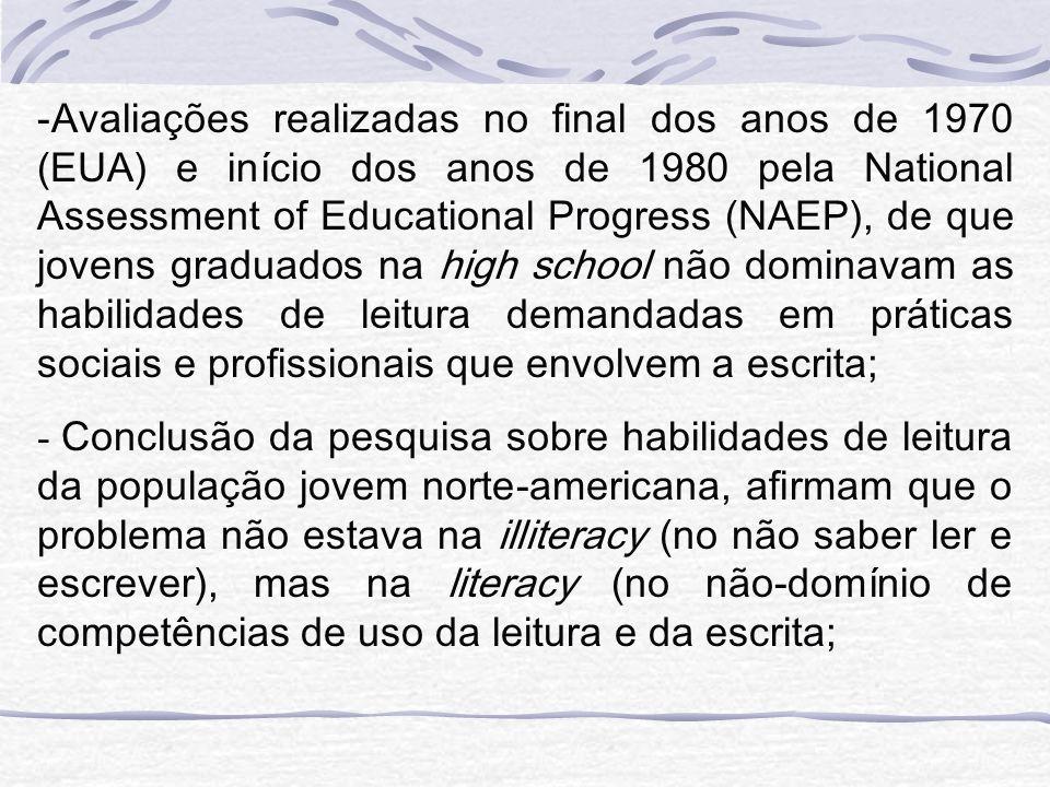 -Avaliações realizadas no final dos anos de 1970 (EUA) e início dos anos de 1980 pela National Assessment of Educational Progress (NAEP), de que joven