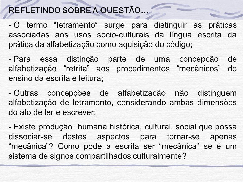 REFLETINDO SOBRE A QUESTÃO… - O termo letramento surge para distinguir as práticas associadas aos usos socio-culturais da língua escrita da prática da