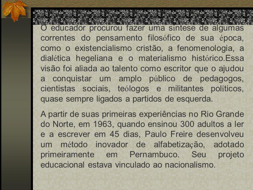 ALFABETIZAÇÃO DE ADULTOS E CONSCIENTIZAÇÃO (Educação e Mudança, 1979) I.Instrumentação da Educação: mediar a relação de um sujeito situado e temporalizado com seu espaço-tempo.
