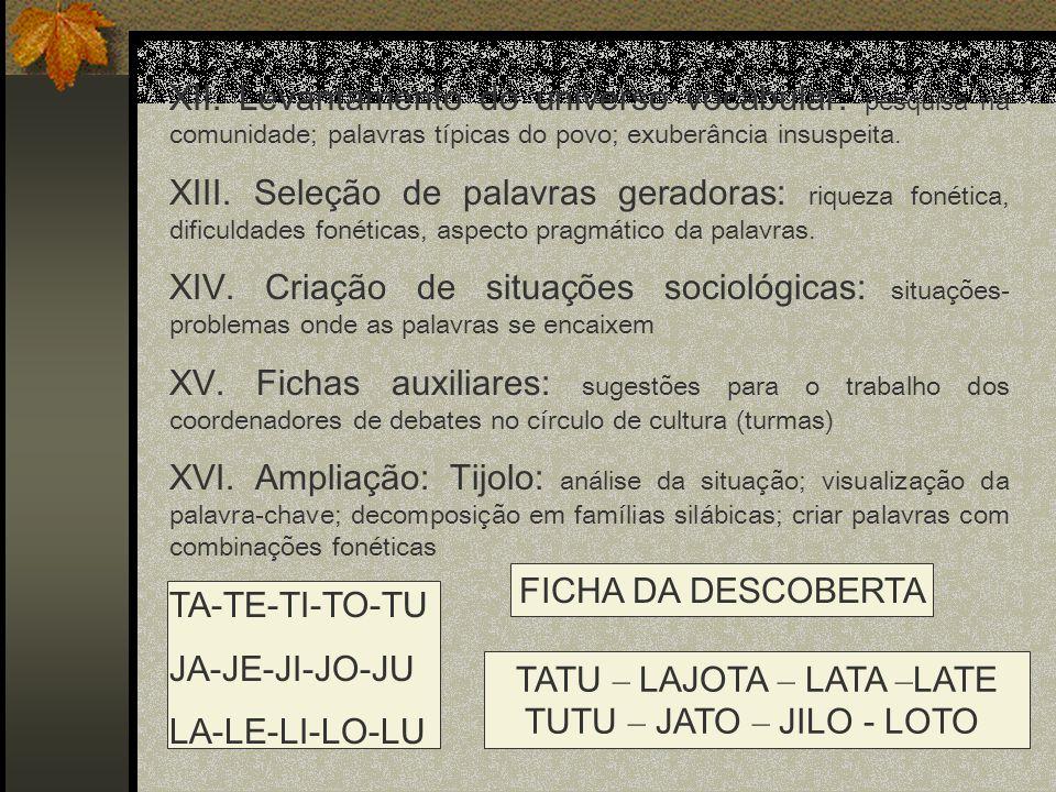XII. Levantamento do universo vocabular: pesquisa na comunidade; palavras típicas do povo; exuberância insuspeita. XIII. Seleção de palavras geradoras