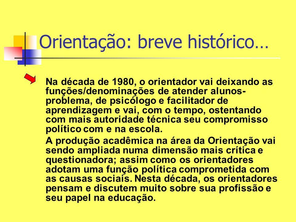 Orientação: breve histórico… Na década de 1980, o orientador vai deixando as funções/denominações de atender alunos- problema, de psicólogo e facilita