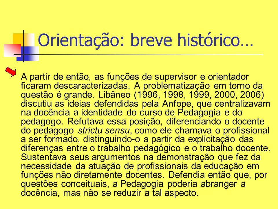 Orientação: breve histórico… A partir de então, as funções de supervisor e orientador ficaram descaracterizadas. A problematização em torno da questão