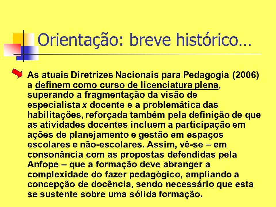 As atuais Diretrizes Nacionais para Pedagogia (2006) a definem como curso de licenciatura plena, superando a fragmentação da visão de especialista x d