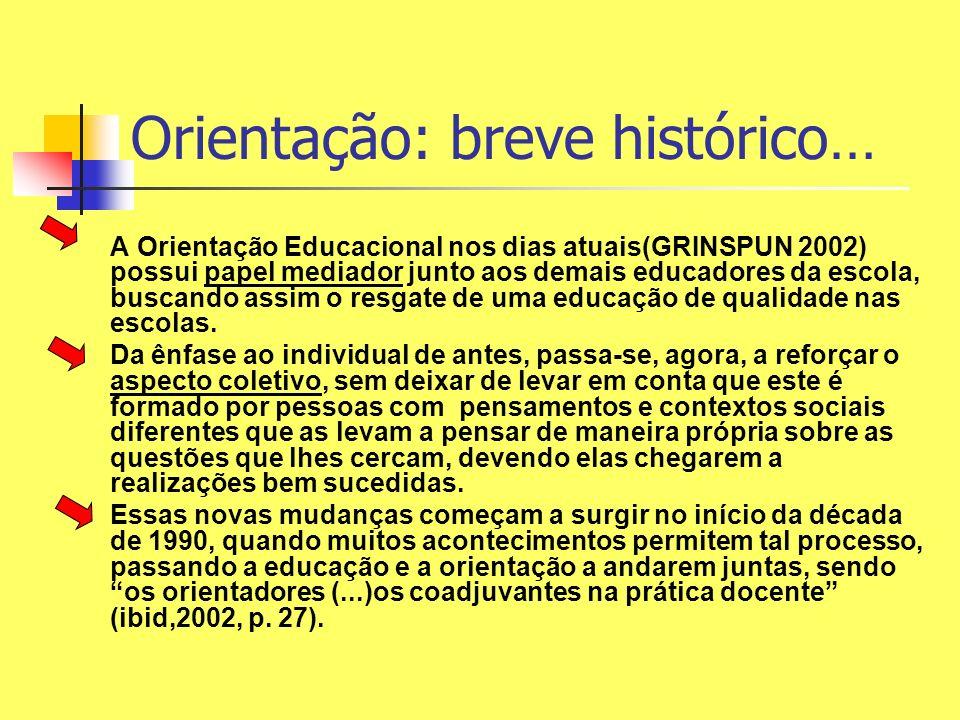 A Orientação Educacional nos dias atuais(GRINSPUN 2002) possui papel mediador junto aos demais educadores da escola, buscando assim o resgate de uma e