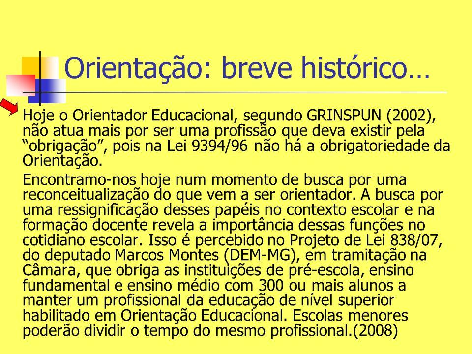 Hoje o Orientador Educacional, segundo GRINSPUN (2002), não atua mais por ser uma profissão que deva existir pela obrigação, pois na Lei 9394/96 não h